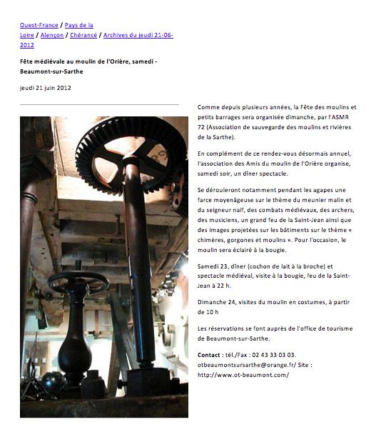 Article paru le 21 juin 2012 dans Ouest France