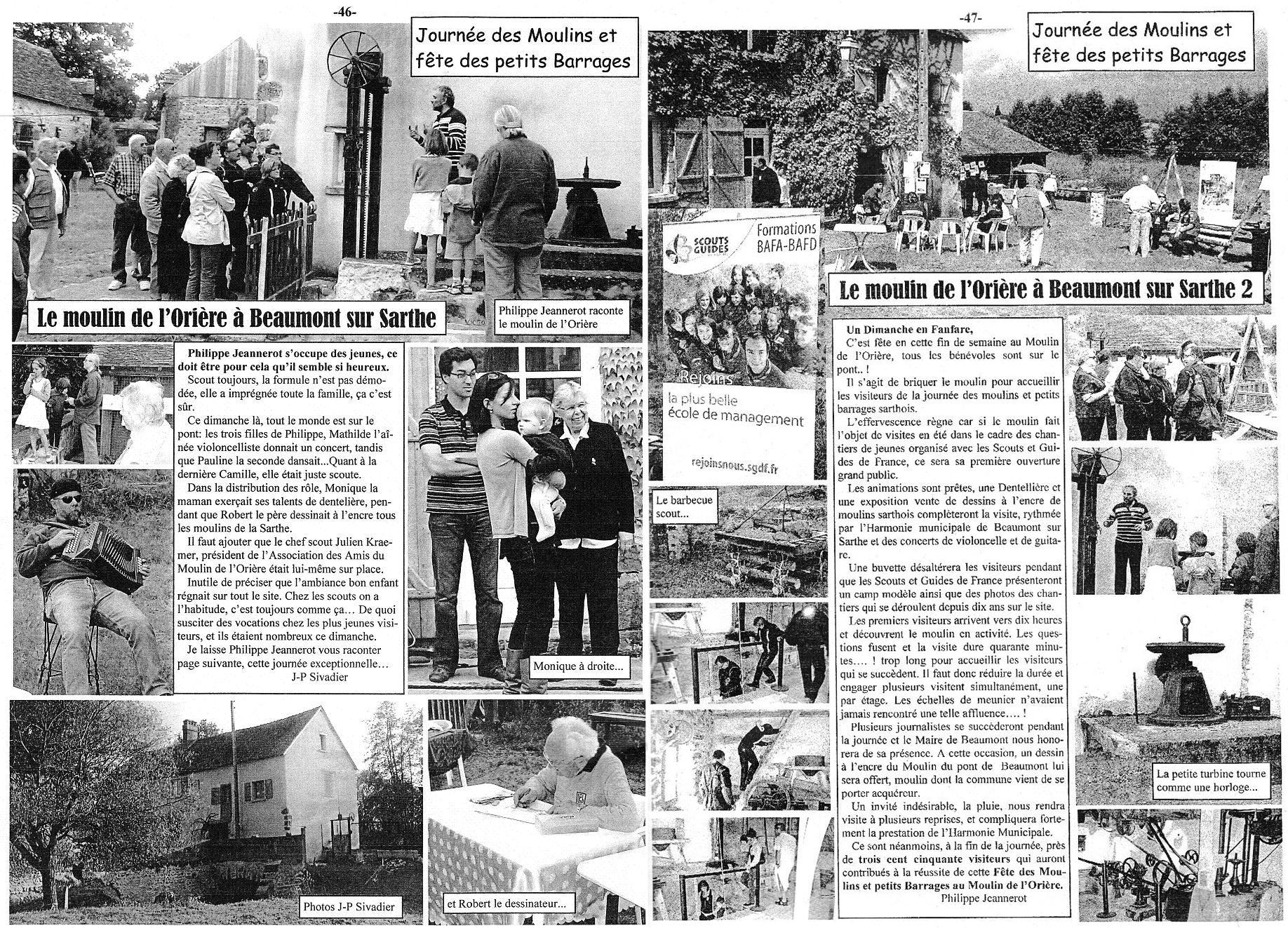 Article paru dans le journal de la Fédération des Moulins et Rivières de la Sarthe