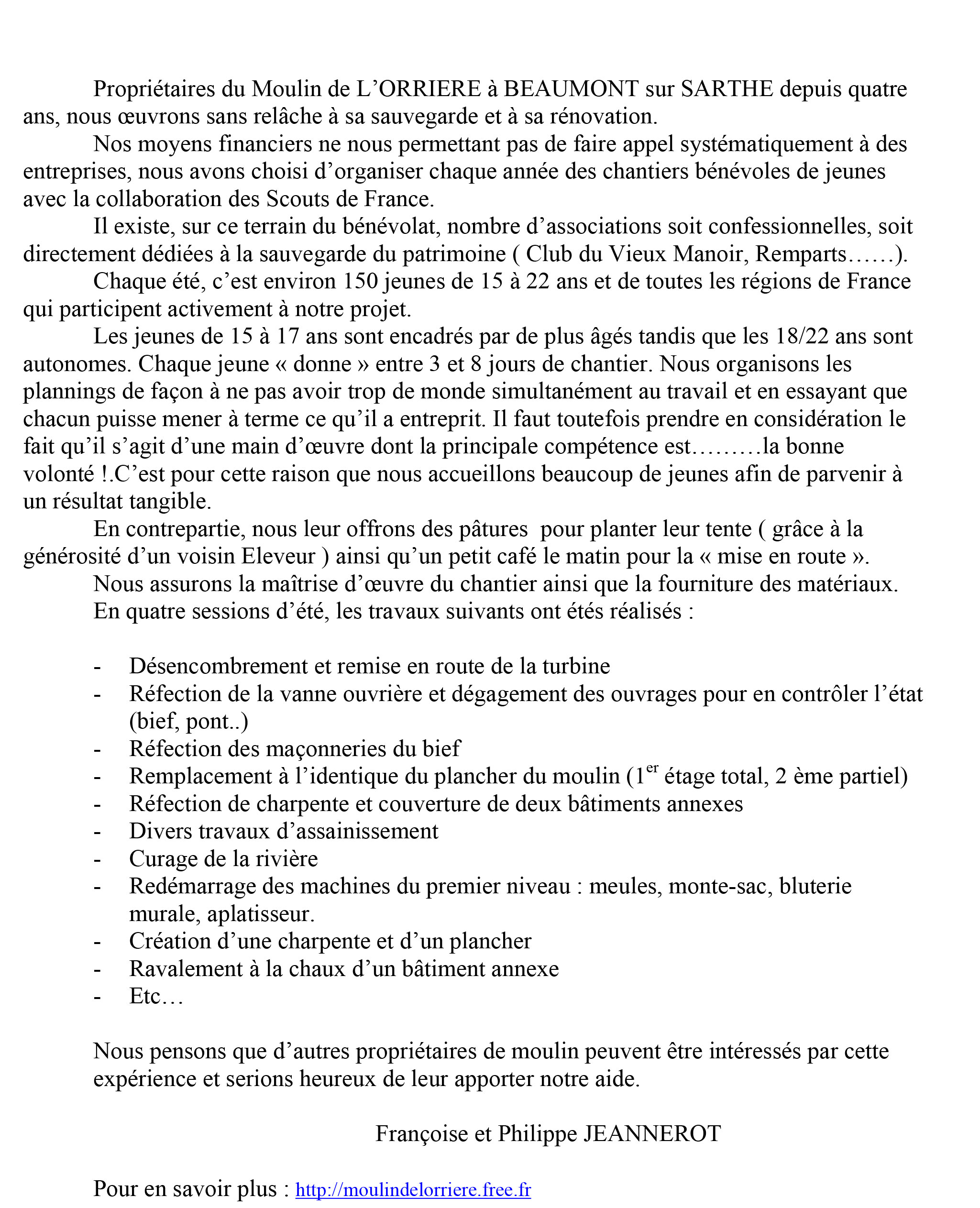 Parution dans la revue des Moulins en 2003