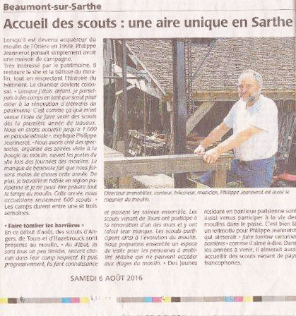 Article dans moulins et rivières de la Sarthe, juillet 2010